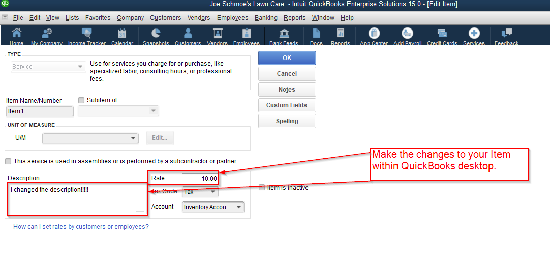 How to update one Item at a time from QuickBooks Desktop – Online