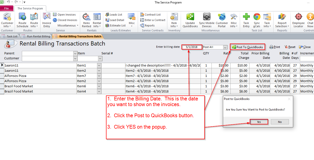 How to post Rental Billing Batch to QuickBooks Online ...
