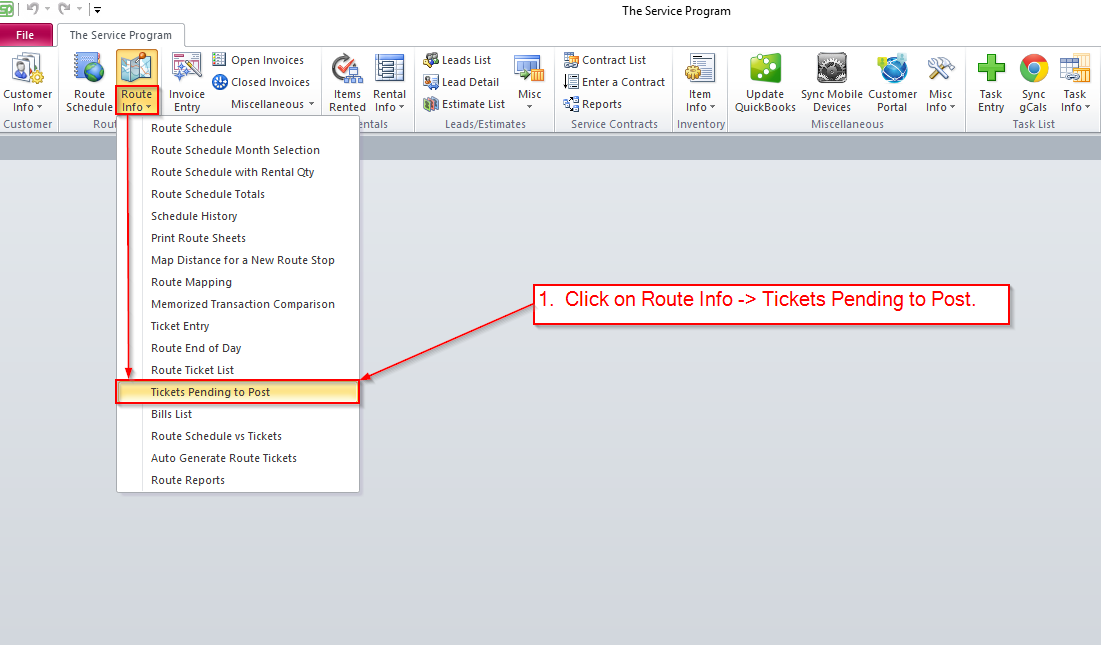How to post Route Tickets Billing Batch to QuickBooks Online