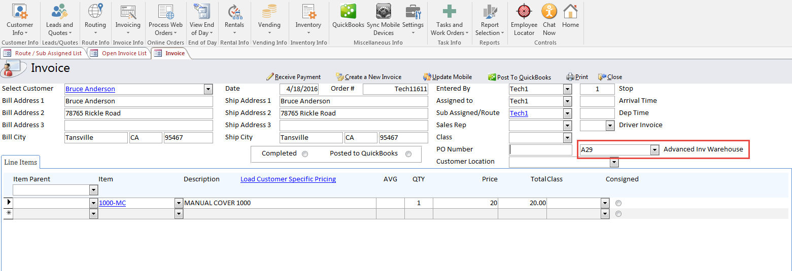 How To Setup Advanced Inventory Warehouse Tracking With RouteStar - Quickbooks invoice pending non posting